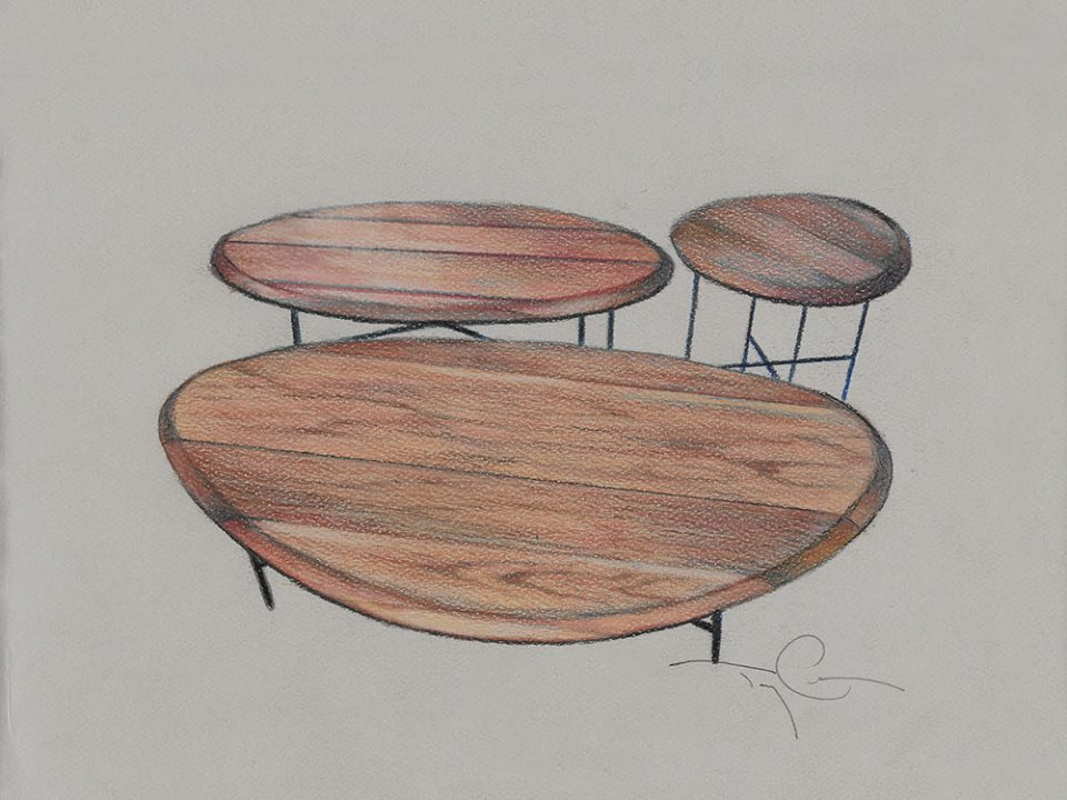drawing of a group of tables