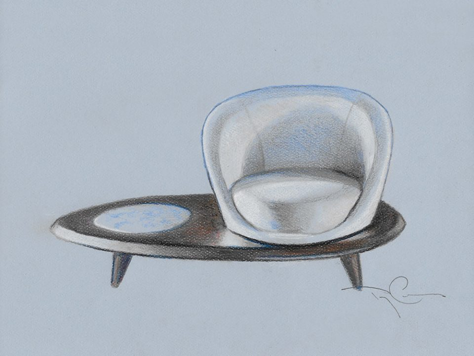 drawing of a combined chair and table
