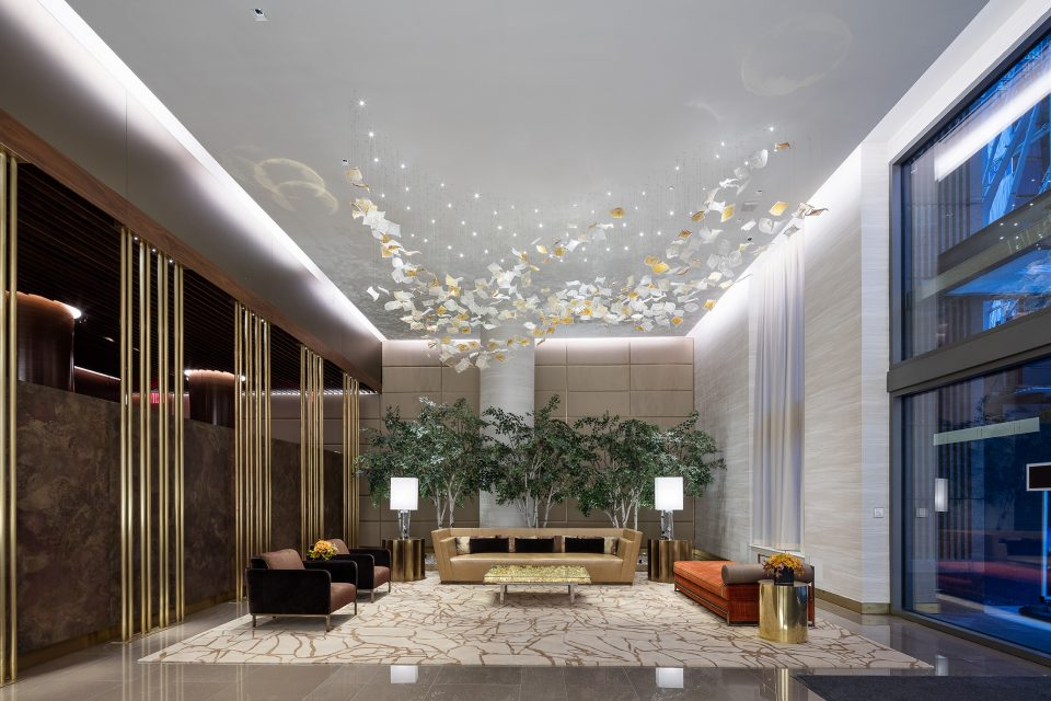 Interior view of One Hudson Yards Lobby, New York (Andre Kikoski Architect).