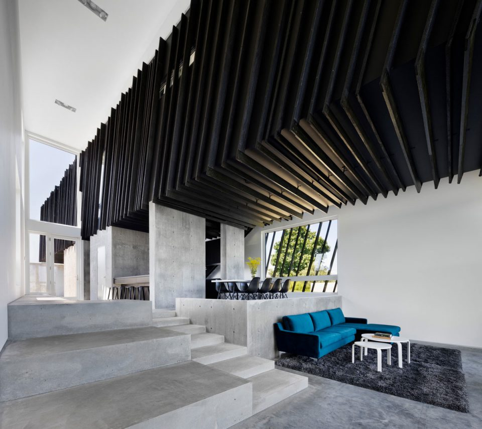 Photo of a concrete living room with black timber cladding
