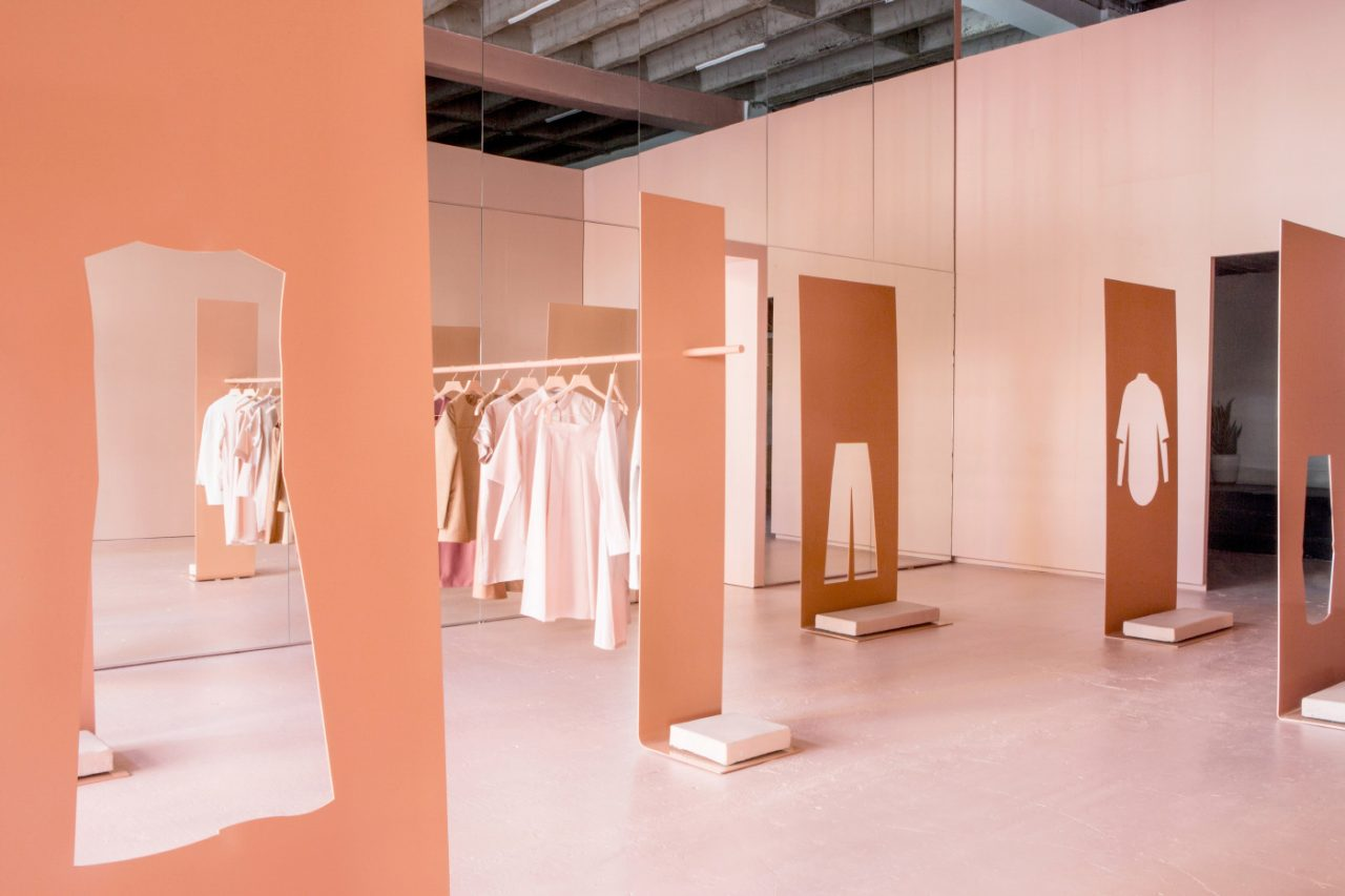 Photo of a beige popup clothing store