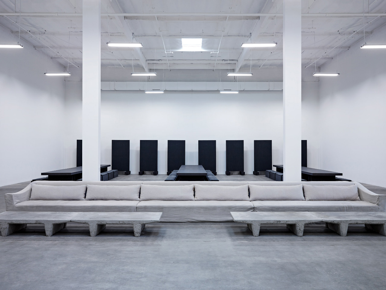 Interior of a white concrete studio