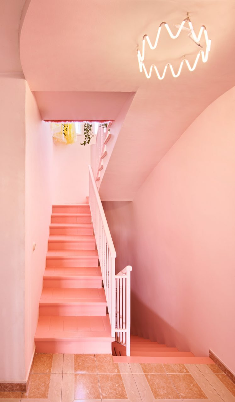 Photo of a pink stairwell