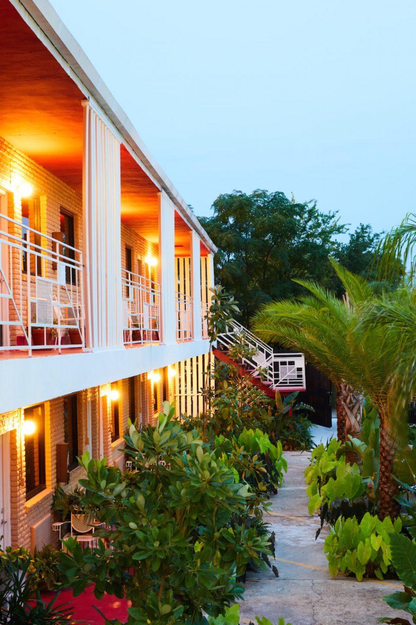 Exterior shot of hotel balconies