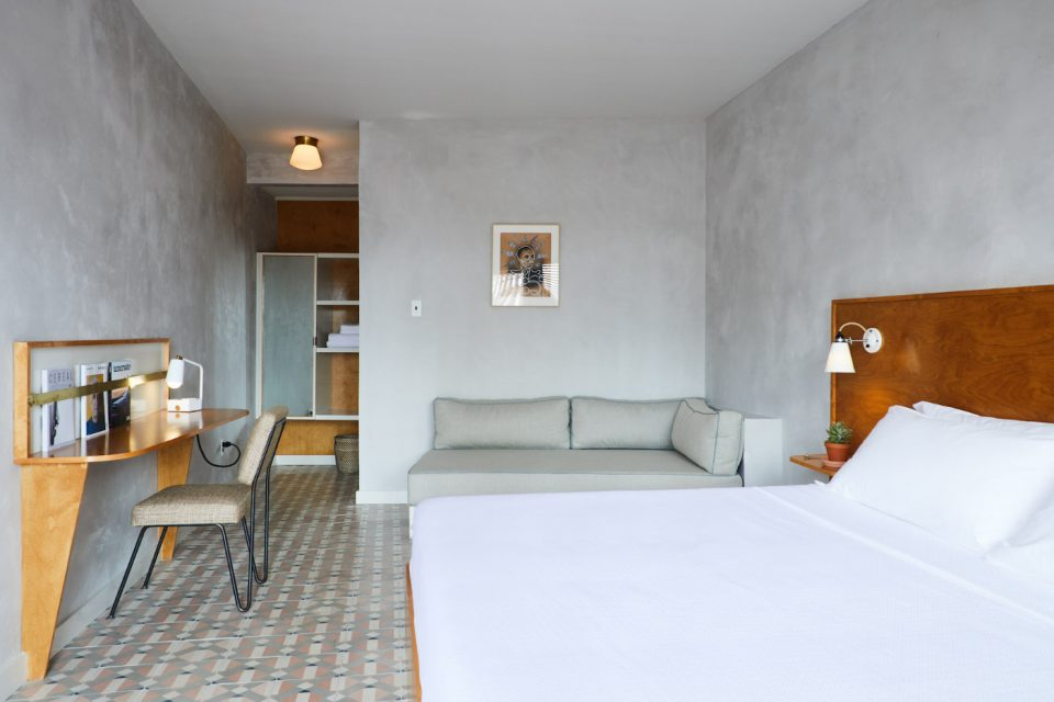 Photo of a concrete hotel room