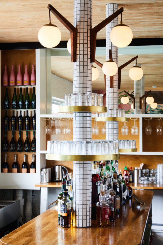 Detail view of a bar's bottle rack