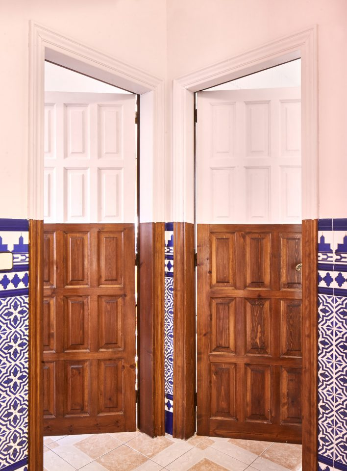 Two side-by-side doors open