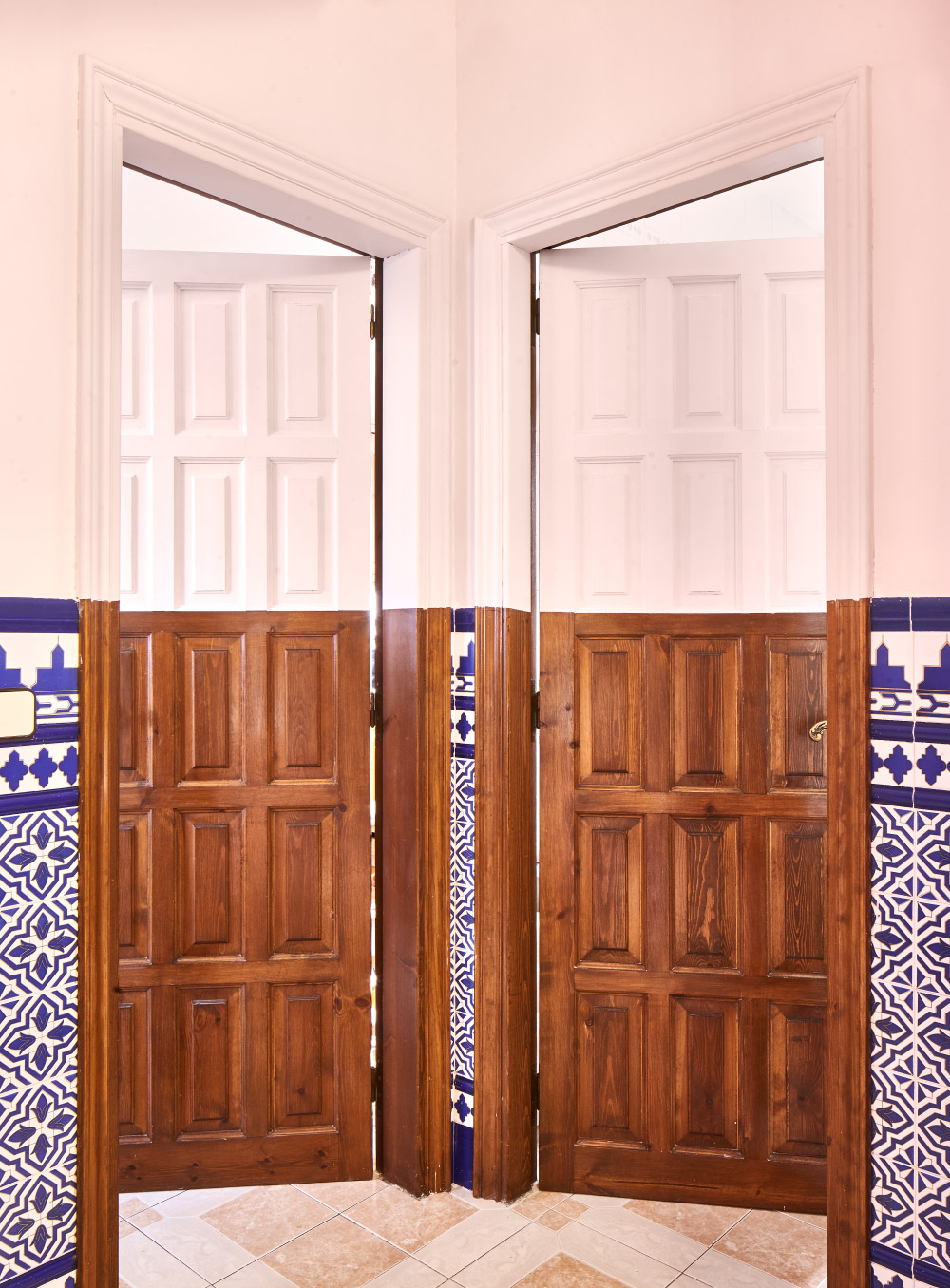 Two side-by-side doors open