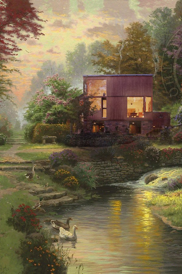 Painting of a modernist house in Kinkade style