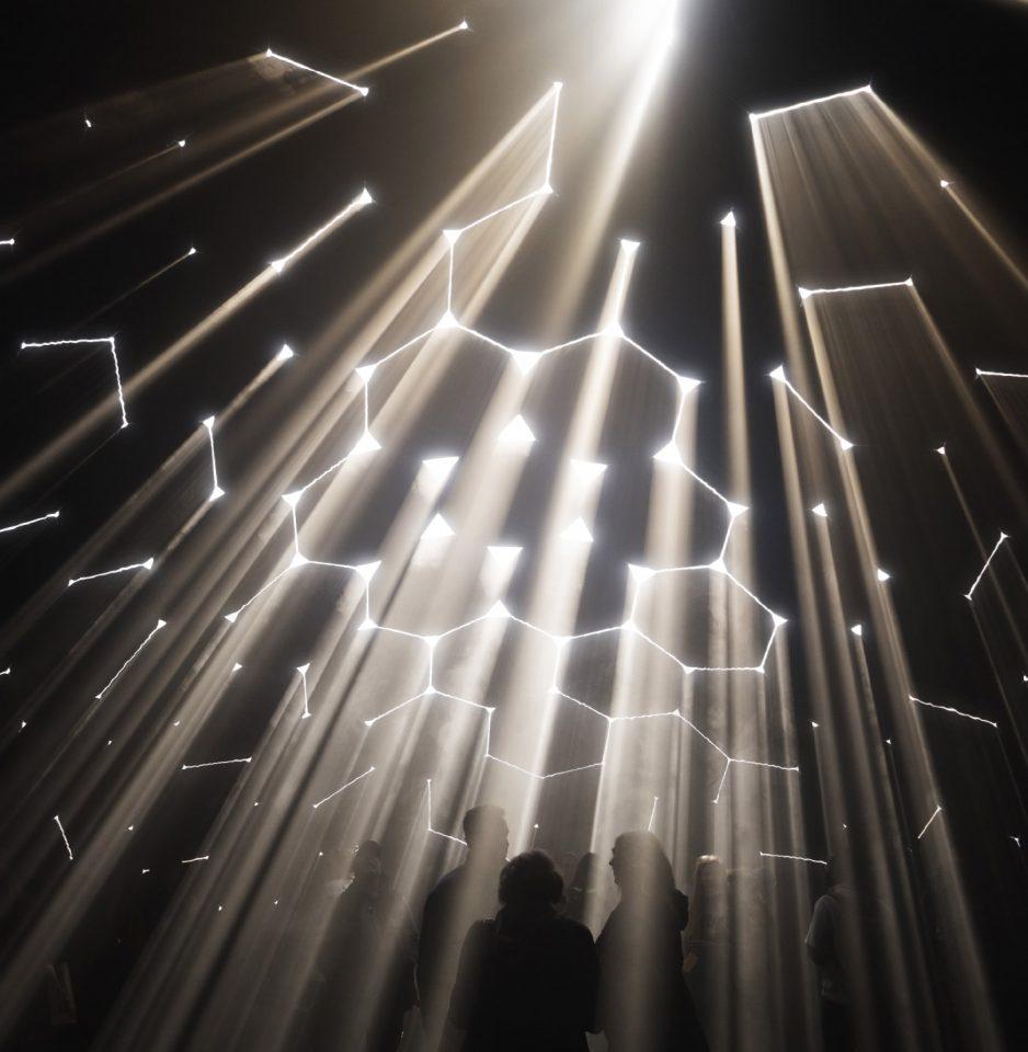 "Light filtering through cracks in an overhead ""skin"""