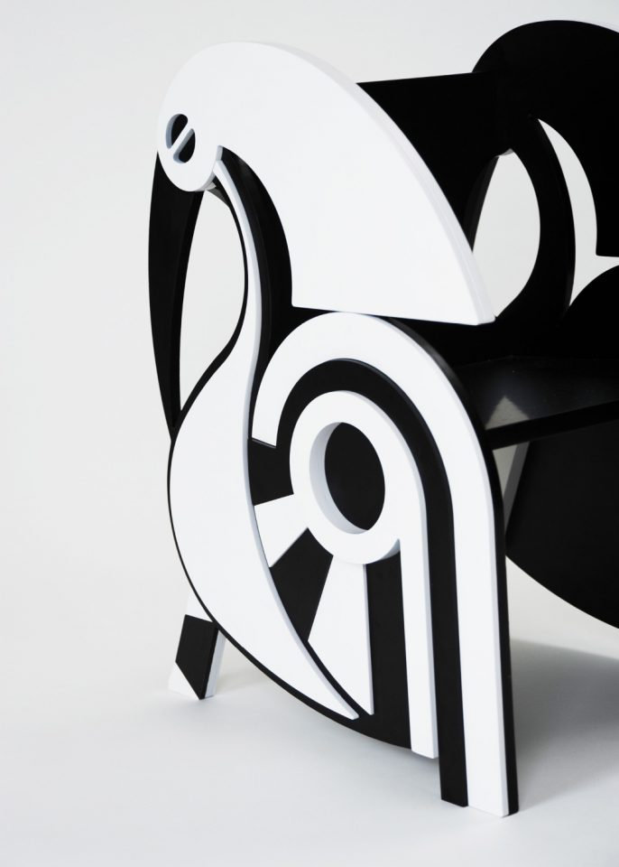 Photo of a black and white chair