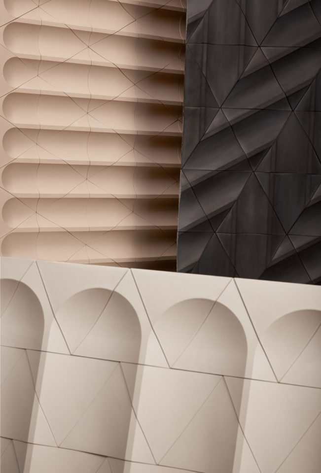 Photo of Flutes and Reeds tile designed by GRT Architects