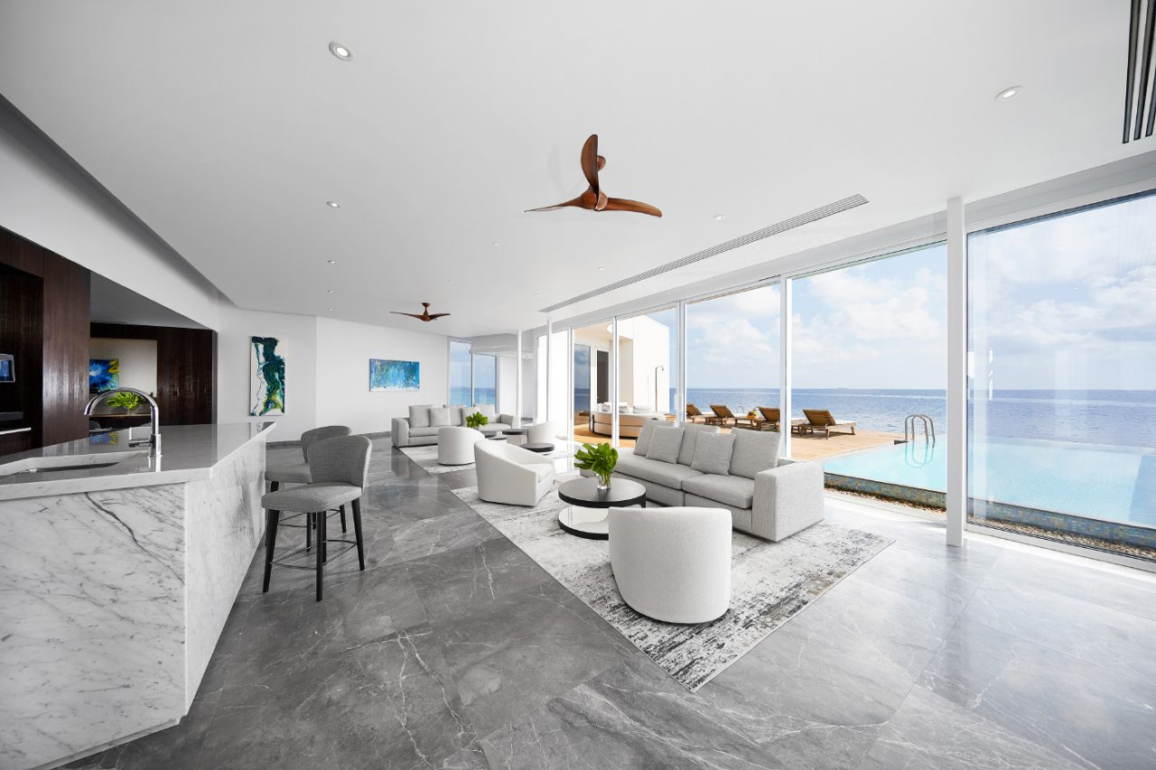 A concrete beach house interior