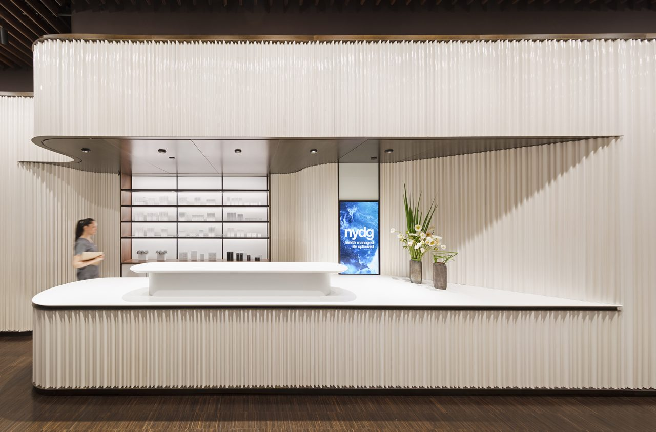 interior view of a reception desk in a medical clinic designed by Brandon Haw