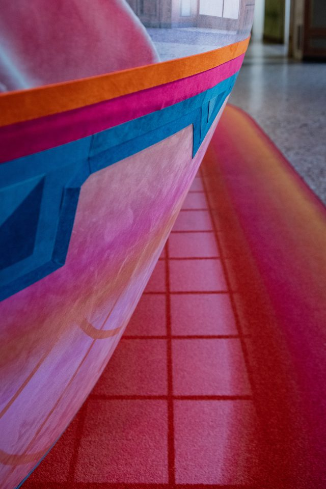 Close up image of colorful installation and floor mat