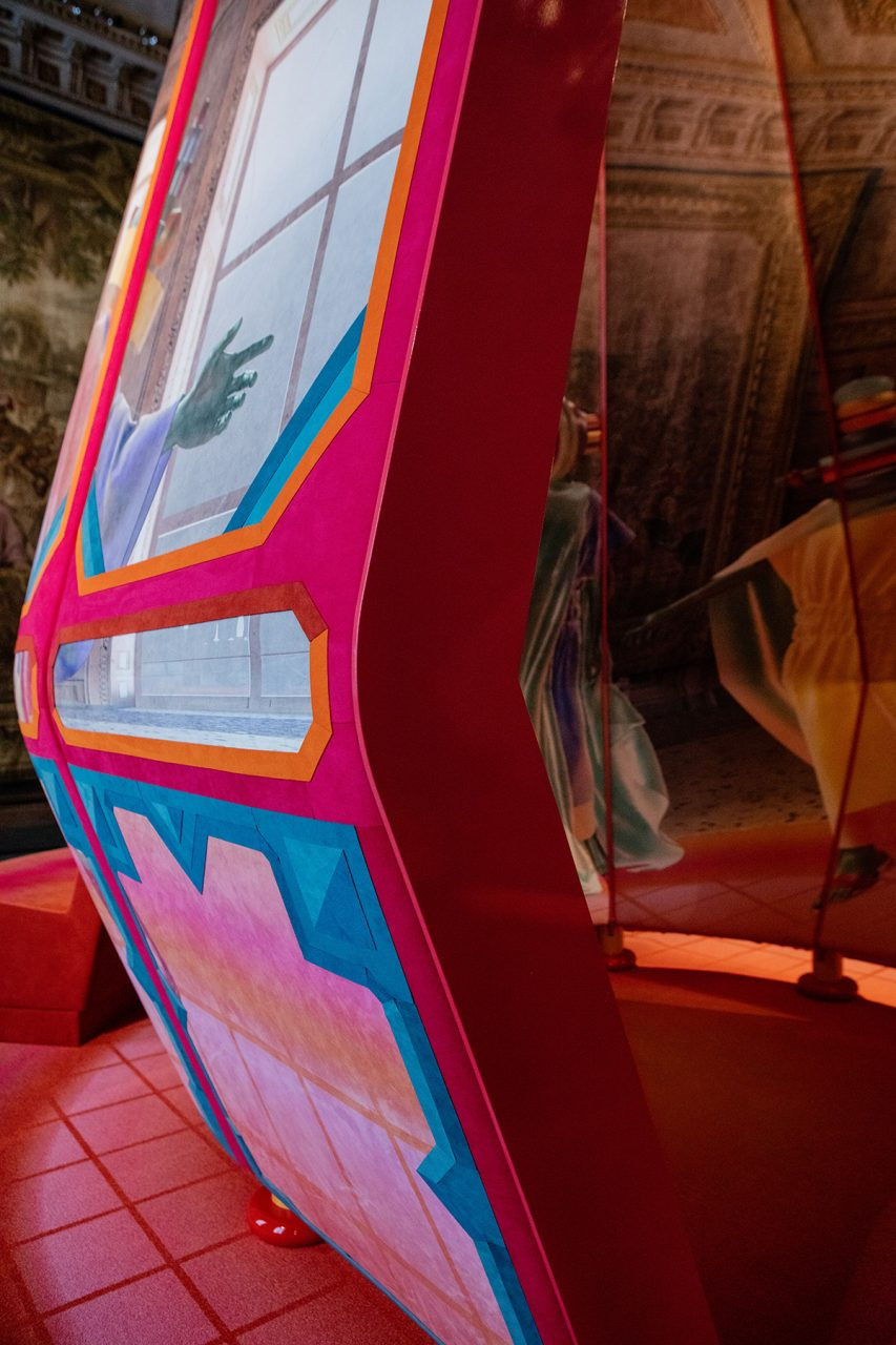 Close up image of colorful container installation