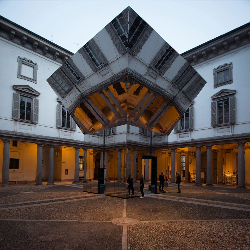 Photo of mirror-clad pavilion in courtyard