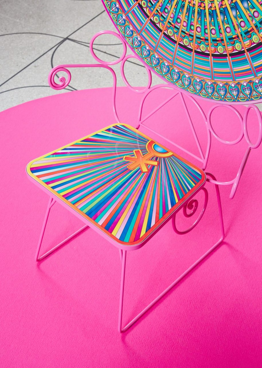 Close up image of colorful patterned chair