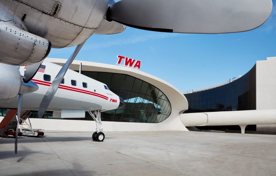 Photo of TWA Hotel tarmac and old Connie airplane