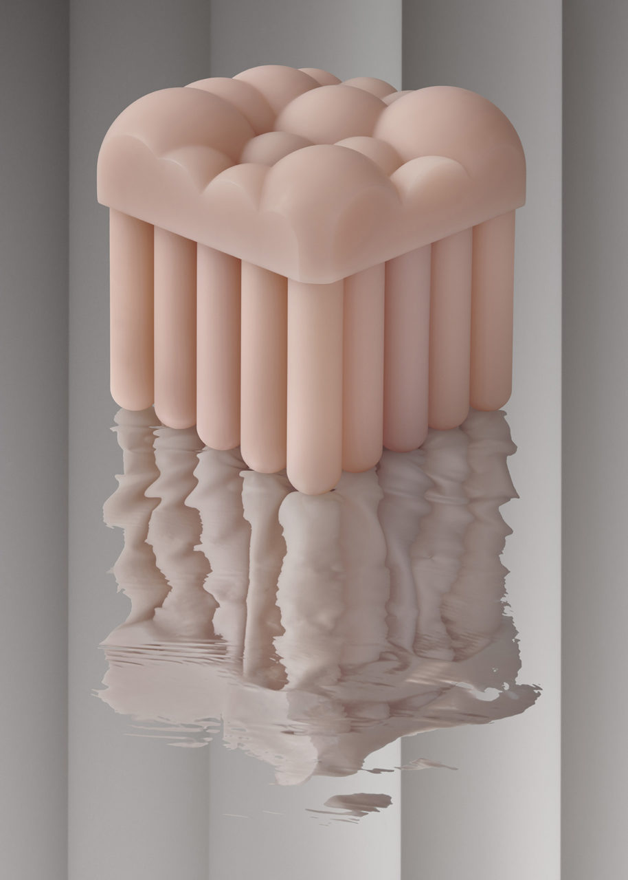 a rendering of an organic, cloud-shaped table with column-like legs set on a reflective surface