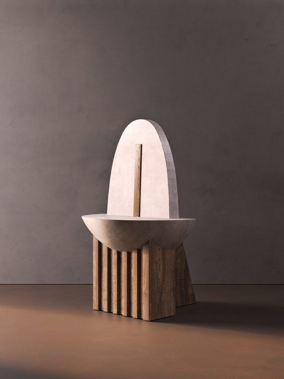A curvilinear and sculptural chair in front of a gray backdrop